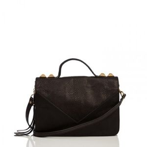 Linea Pelle Black Top Handle Crossbody Handbag